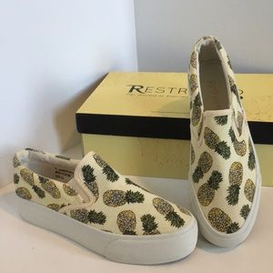 Pineapple slip on sneakers and a half